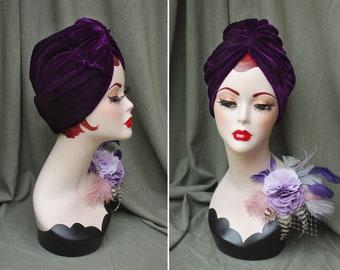 PURPLE velvet : Full cap Turban & brooch lilac lavender // Vintage 40s 30s 20s // Retro Art Nouveau Roaring Twenties Hat // Jazzafine