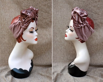 DUSTY PINK / BLUSH gold Velvet Turban // dusky pink Headband & Brooch // Vintage 40s 30s  // Art Nouveau Bow // gift idea by Jazzafine