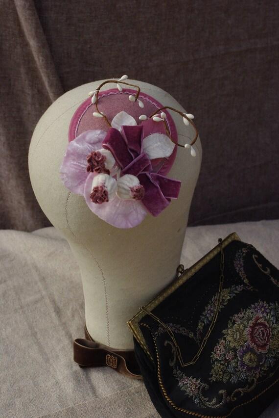 headpiece fascinator ascot spring time pink dusky pink mauve rosewood vintage powder velvet bridal bridesmaids purple lavender wedding bride
