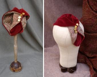 red brown Velvet Silk Half Hat // Headpiece Vintage 30s 20s Art Deco // Headband Fascinator reddish copper russet Diva Turban