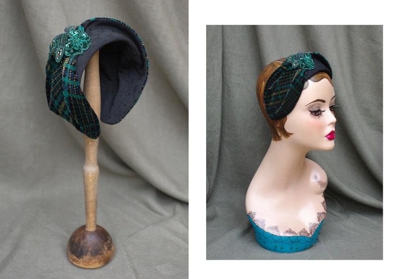 TARTAN blue & green // Half Hat Headpiece Velvet Lace Vintage image 0