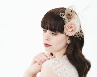 Bridal Headpiece nude & cream // Feathers bird cage veil flower // vintage wedding // fascinator for bride or bridesmaids // boho lingerie