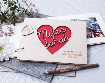 Personalised Wedding Heart Guest Book - Engraved Wedding Guest Book - Custom Sign Our Guestbook