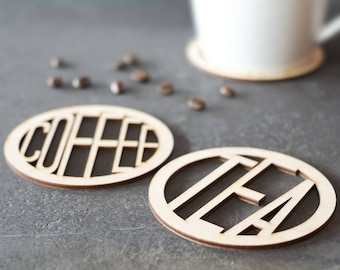 Tea and Coffee Wooden Coasters - New House Gift - Coffee Lover Coaster