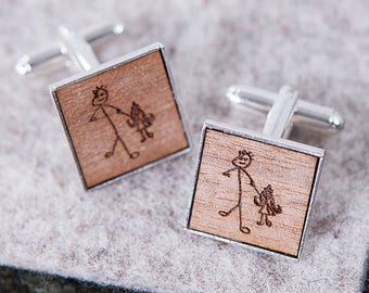 Personalised Engraved Drawing Cufflinks - Drawing Cufflinks - Dad Cufflinks - Engraved Cufflinks - Picture Cufflinks - Christmas Cufflinks