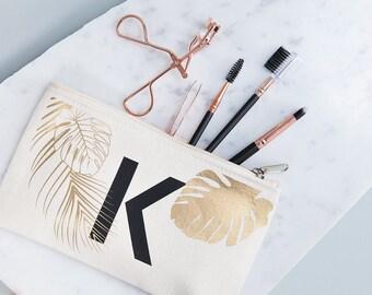 Personalised Tropical Makeup Bag - Hen Party Gift - Graduation Gift Idea - Cosmetic Bag - Monogram Clutch Bag