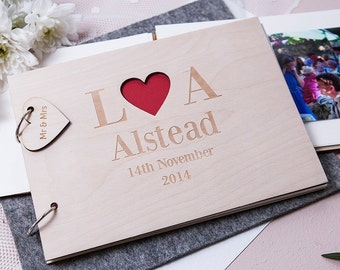 Personalised doves wooden wedding guest book jigsaw puzzle anniversary gift