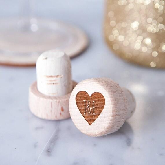 Personalised Heart Wine Bottle Stopper Wooden Wine Stopper Etsy