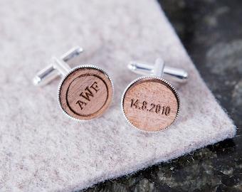 Personalised Monogram And Date Cufflinks - 5th Anniversary Gift - Custom Cufflink Set - Page Boy Gift