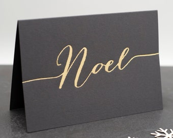 Luxury 'Noel' Hand Pressed Christmas Card - Noel Card - Gold Holiday Card - Christmas Cards - Calligraphy - Gold Foil Card - Metallic Card