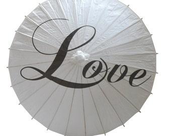Love Wedding Paper Parasol - Wedding Parasol - Paper Umbrella - Photo Prop - Wedding Decor - Vintage Look Parasol - Beach Wedding - Oriental