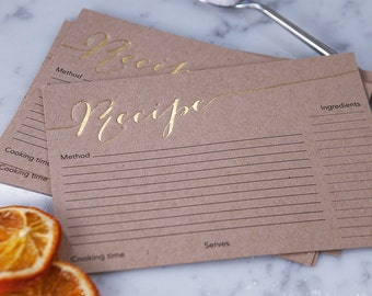 Set Of Hand Pressed Foil Recipe Cards - Recipe Box Cards - Cookery Lover Gift - Gift for Chef - Family Recipe Cards - Recipe Cards Set