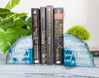 Agate bookends - Bookshelf Decor - A reader lives a thousand lives - Gift for reader - Teal Agate Bookend