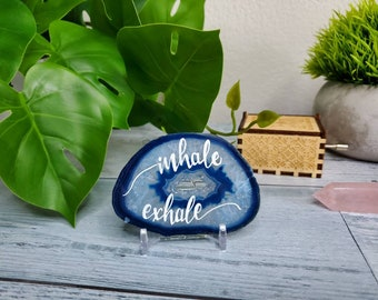 Inhale Exhale Worry stone - Blue Worry stone agate - Blue crystal Decoration - manifestation stone - Anxiety Gift