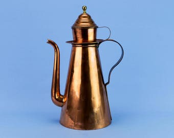 1800s Rare Georgian Large Copper Coffee Pot Tapered Neo Classical Antique Regency English