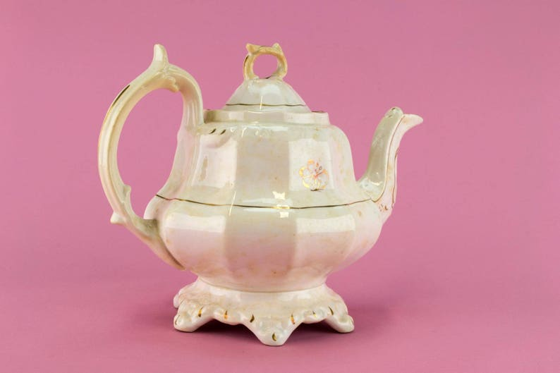 Pottery Pear Shaped Teapot Panelled Antique English William IV 1830s Large Georgian Gilded
