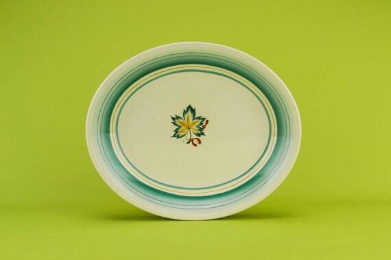 Mid-century Modern Vintage Floral plateau ovale Grindley vert en céramique fromage élégant plat cuisine anglaise des années 1950 cadeau