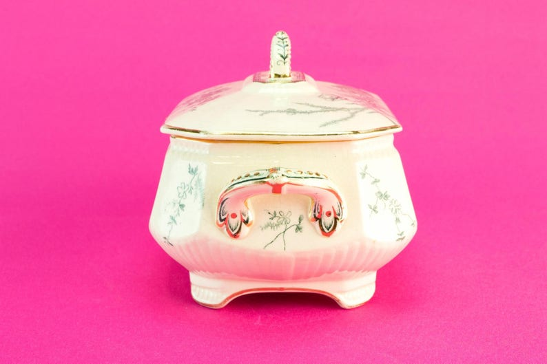 Small Green and White Gilded Ceramic Serving Bowl Tureen Aesthetic Movement Burgess /& Leigh Antique English 1880s Gift