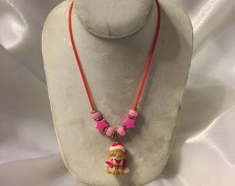 Christmas Puppy Necklace, Christmas Necklace, Kids Necklace, Red Rubber Cord Necklace, Santa Puppy, Kids Gift, Stocking Stuffer, SDJ2012