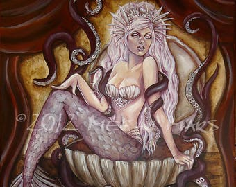 The Siren sideshow mermaid postcard art print by Megan Mars