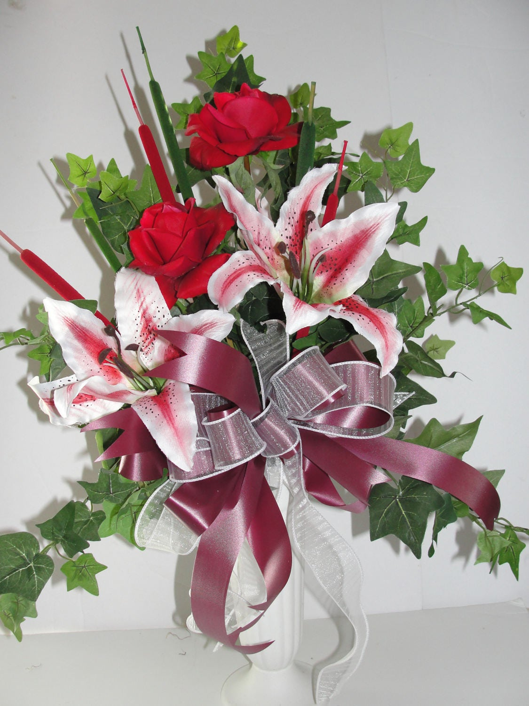 Push-weiß Sommer Friedhof Grab Vase in Boden Blumen Mütter | Etsy