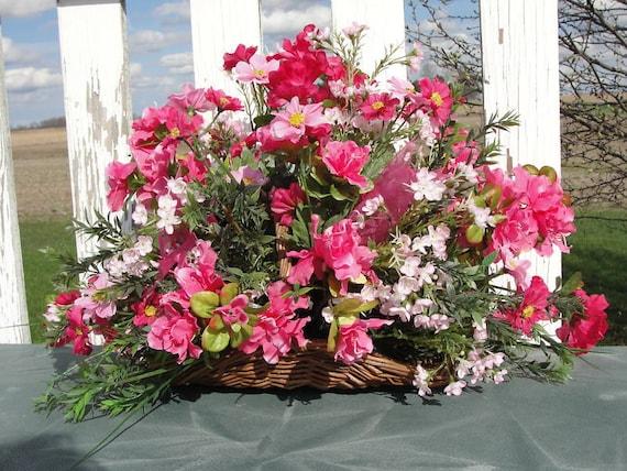 Spring Silk Flower Arrangements Pink Violet Or Custom Colors Etsy