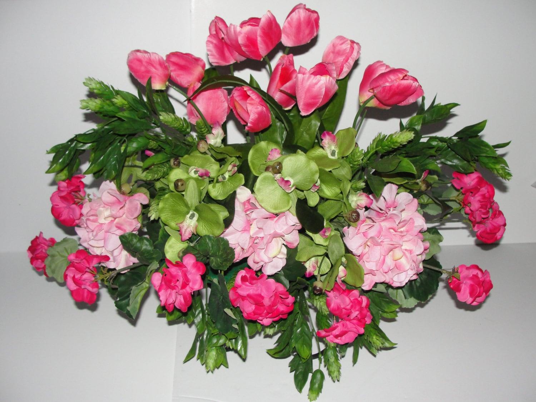 Deluxe Mütter Tag Friedhof Grab Blumen Rosa Tulpen Geranien | Etsy