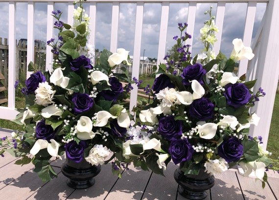 2 Purple And White Wedding Church Altar Reception Epic Silk Etsy