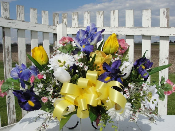 Cemetery silk flower arrangements tombstone saddles spring etsy image 0 mightylinksfo