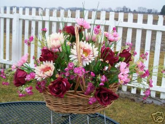 Mothers day grave flowers cemetery saddle silk flowers etsy image 0 mightylinksfo