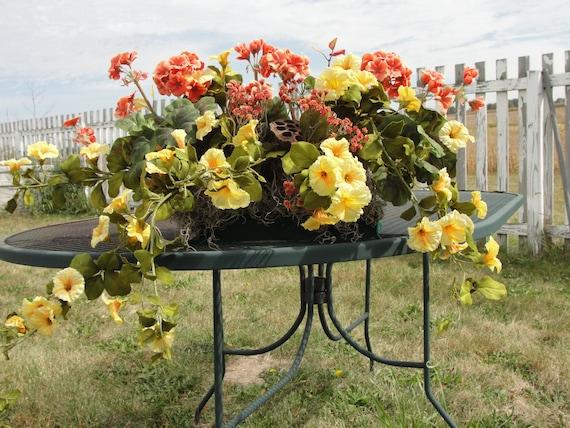 Window box silk flower arrangement orange geraniums yellow etsy image 0 mightylinksfo