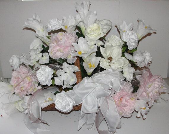 "Baby Grandma Yellow Pink Roses Cemetery Grave Pillow Flowers Memorial 20/"" x 15/"""