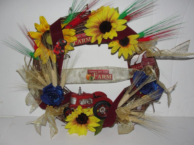 Toy Red IH Tractor Farmer 18 Grapevine Wreath Wheat Silk Sunflowers Blue Roses Country Door Cemetery Funeral Sympathy Custom Orders Welcome