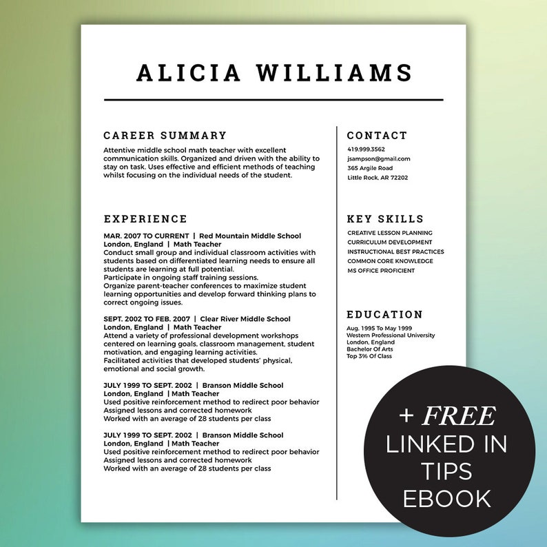 Simple Resume Template Free Linked In Tips EBook Included 4 Page Package Mac Or PC Microsoft Word And Adobe Indesign WILLIAMS