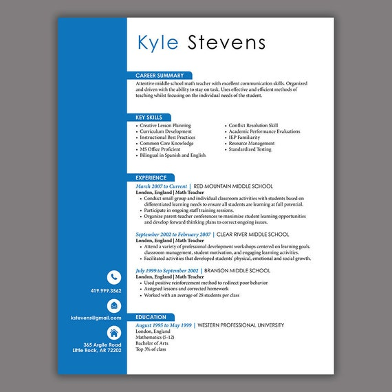 Administrative Resume Blue Word Resume Template 3 Pages | Etsy