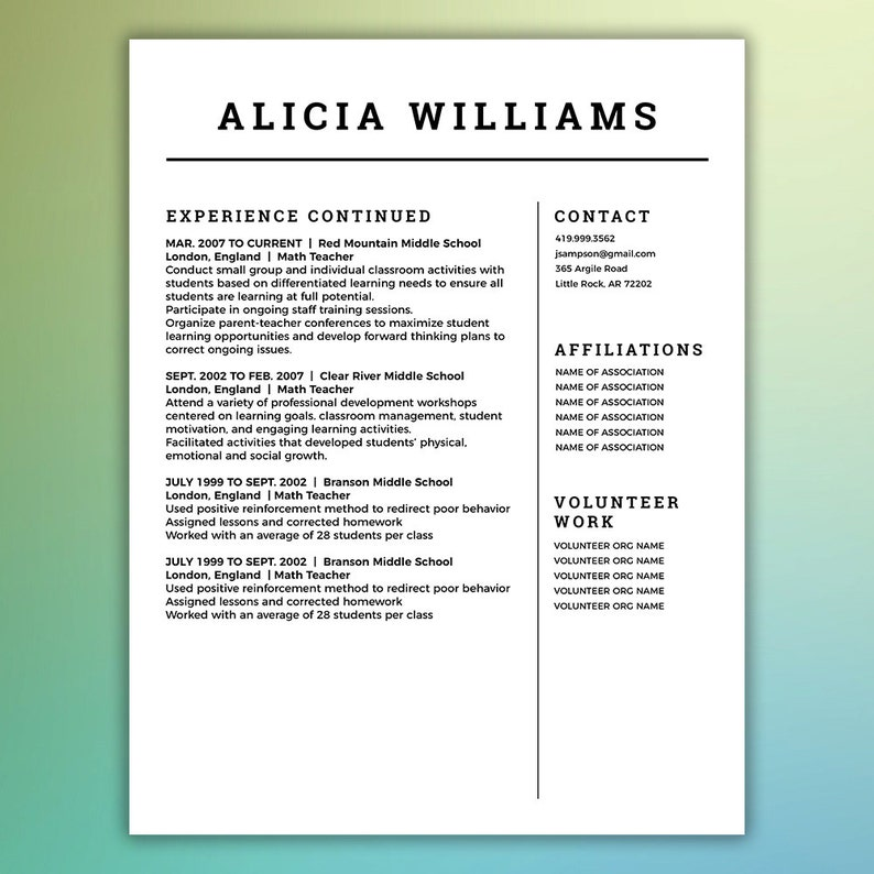 Simple Resume Template | Free Linked In Tips eBook Included| 4 Page Package  - Mac or PC - Microsoft Word and Adobe Indesign - WILLIAMS