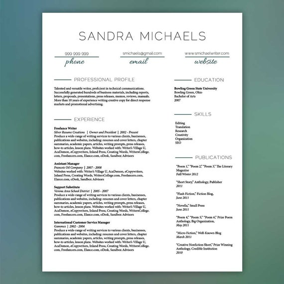 Resume Template Instant Download | Resume with Free Cover Letter and  References - Instant Download - MS Office and Adobe InDesign MICHAELS
