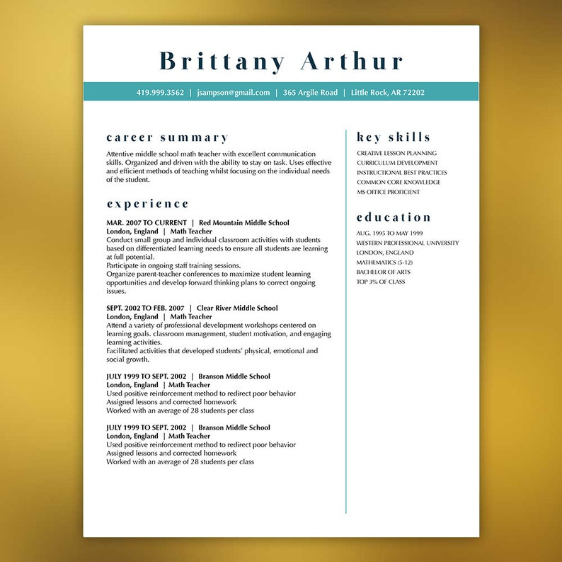 Resume Template CV Template Cover Letter Modern 4 Pages Microsoft Teacher Resume Professional Creative Resume Template ARTHUR