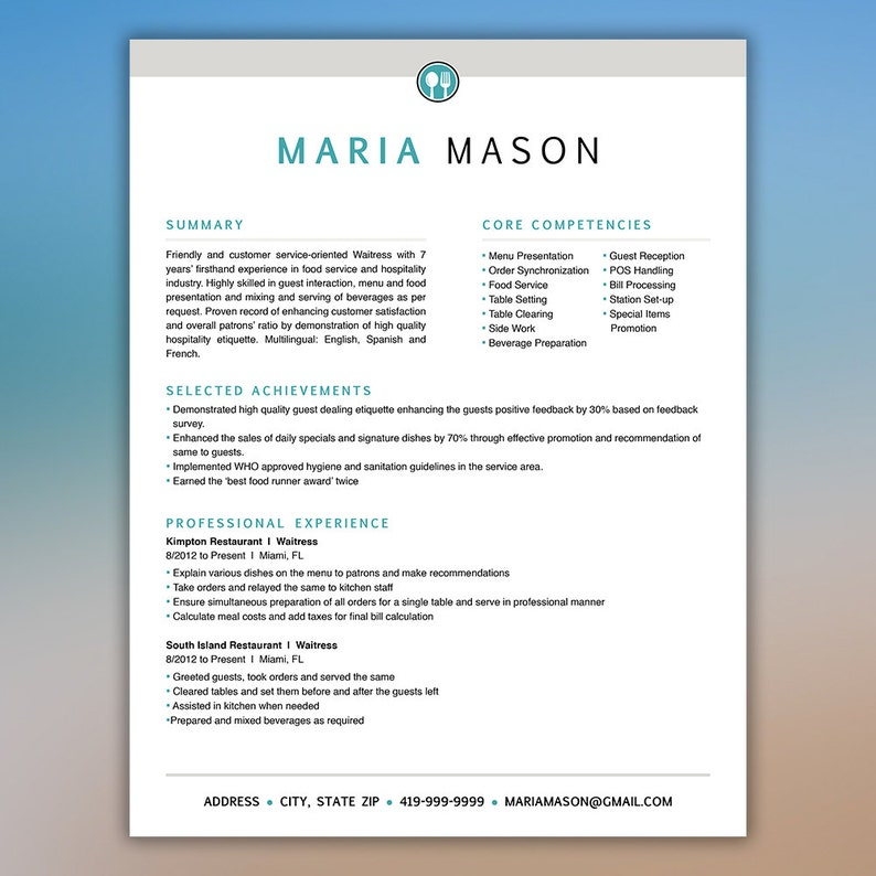 Restaurant Resume Template Server Food Service