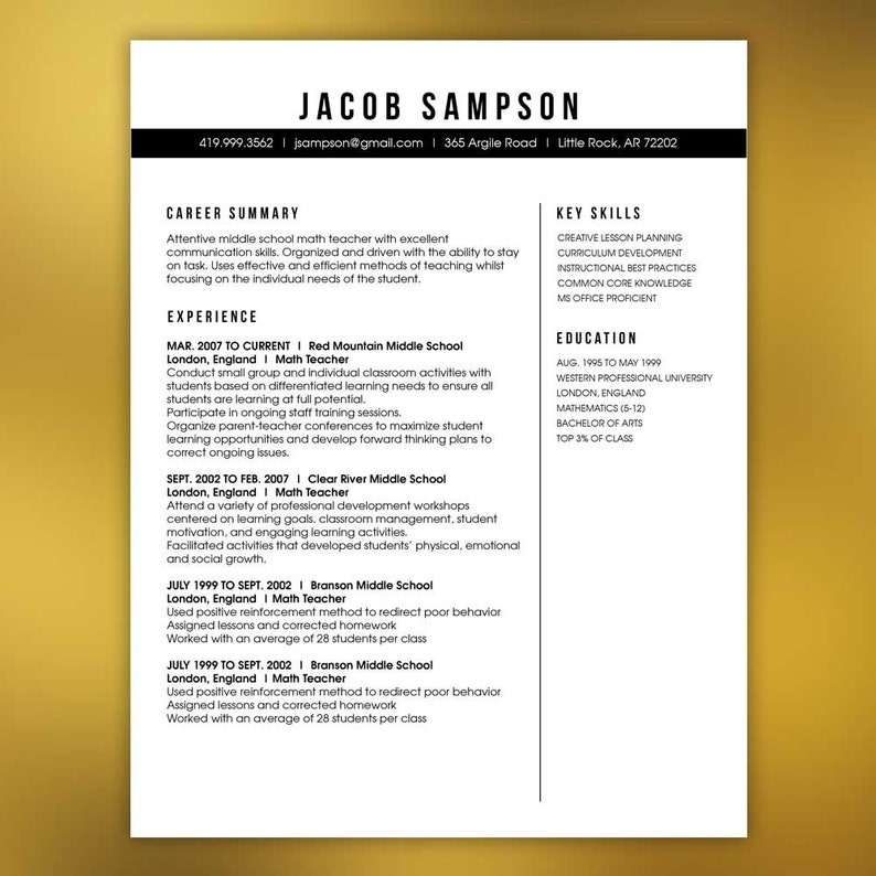 Masculine Resume Template Teachers Or Any Profession 4 Piece Package Mac Or PC Microsoft Word And Adobe Indesign SAMPSON