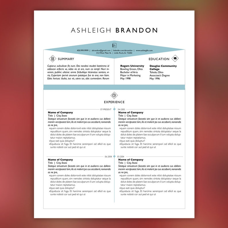 Art Field Resume Template And Cover Letter For Word
