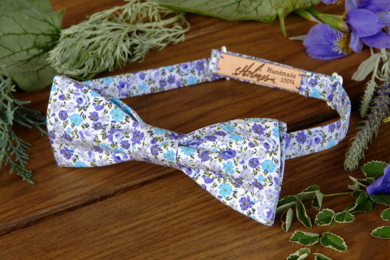 361f8750a1c4 Bow Tie Floral Violet Bow-Tie Cotton Liberty of London Blue | Etsy