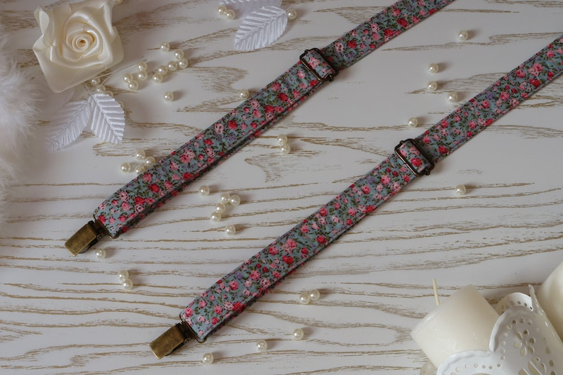 SUSPENDER and BOWTIE SET Adriatic Blue /& Bright Pink Floral  Cotton Gray Floral Wedding Men/'s Suspenders Orchid Pink Rose Groomsmen Bow Tie