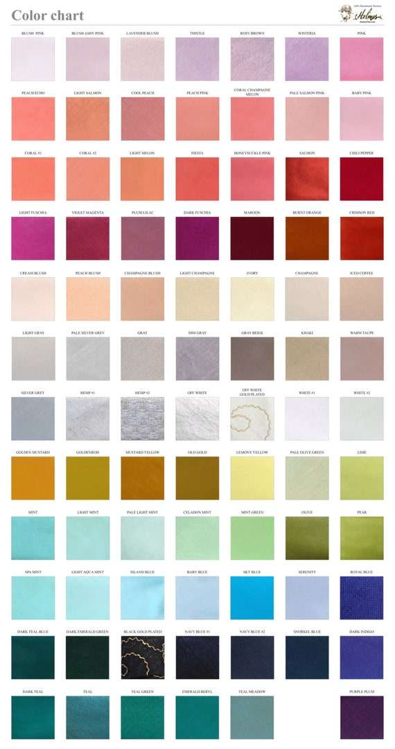 Solid Color Chart Fabric Sample Wedding Ties Etsy
