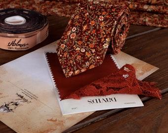 Cinnamon Floral Necktie Wedding WildFlowers Tie Floral Skinny tie Wedding Ties MAROON Necktie Bow-Tie Suspenders Pocket square Special Order