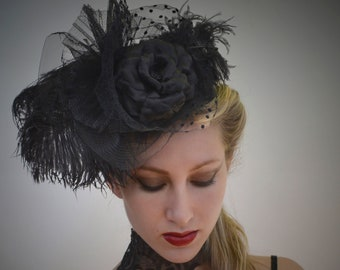 Black Ostrich Feather Fascinator - Hairpiece
