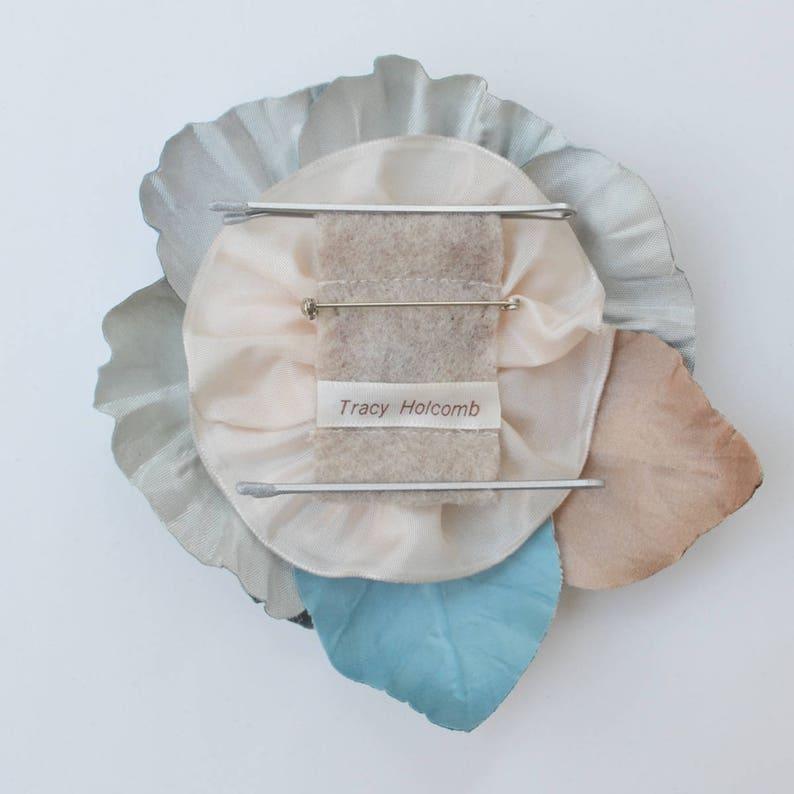 Blue /& Beige Silk Flower Hair and Dress Accessory