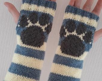 "Paw print 10"" fingerless gloves wrist warmers yellow blue stripe"