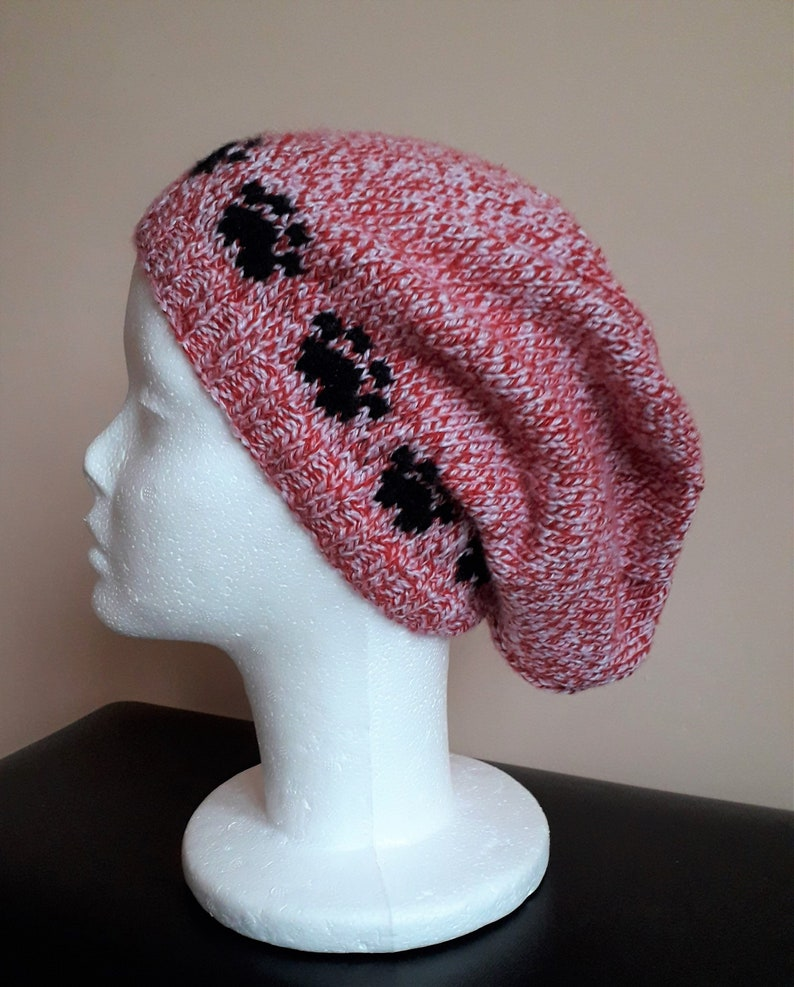9a155090bb6 Paw print slouch beanie hat candy stripe twist red pink