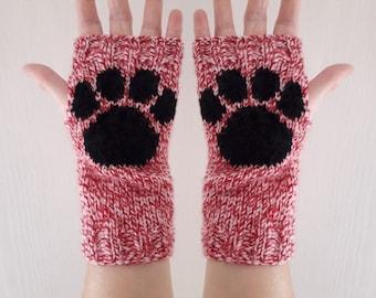 Candy twist paw print fingerless gloves - wrist warmers